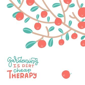 레터링 인용 정원 가꾸기와 나무 가지 여름과 가을 평면 벡터 일러스트 레이 션에 사과는 ...