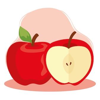 リンゴの赤い果実、健康食品