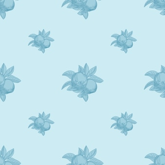 Apples seamless pattern on blue background. vintage botanical wallpaper. hand draw fruit texture. engraving vintage style.