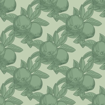 Apples seamless pattern on green background. vintage botanical wallpaper. hand draw fruit texture. engraving vintage style.