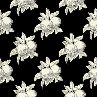 黒の背景にリンゴのシームレスなパターン。ビンテージの植物の壁紙。