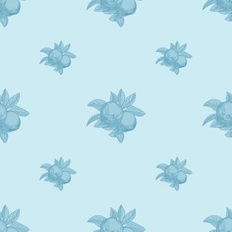 青い背景の上のリンゴのシームレスなパターン。ヴィンテージの植物の壁紙。フルーツの質感を手描きします。ヴィンテージスタイルの彫刻。