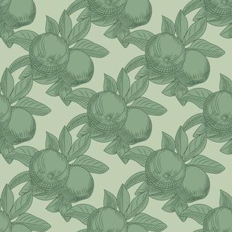 緑の背景にリンゴのシームレスなパターン。ヴィンテージの植物の壁紙。フルーツの質感を手描きします。ヴィンテージスタイルの彫刻。