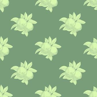 녹색 바탕에 사과 완벽 한 패턴입니다. 빈티지 식물 벽지. 손으로 과일 텍스처를 그립니다. 빈티지 스타일 조각.