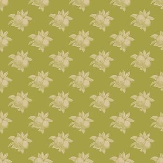 緑の背景にリンゴのシームレスなパターン。ヴィンテージの植物の壁紙。手描きの果物。