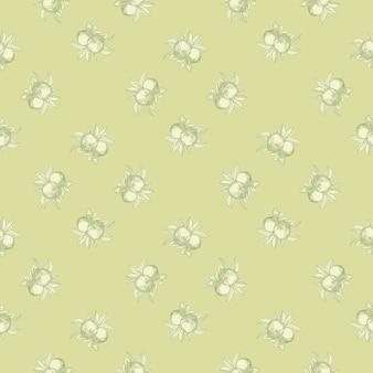 緑の背景にリンゴのシームレスなパターン。ヴィンテージの植物の壁紙。