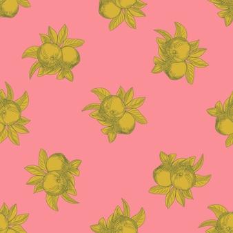 ピンクの背景にリンゴのシームレスなパターン。ヴィンテージの植物の壁紙。フルーツの質感を手描きします。ヴィンテージスタイルの彫刻。