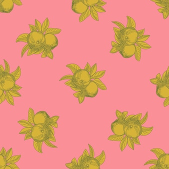 Apples seamless pattern on pink background. vintage botanical wallpaper. hand draw fruit texture. engraving vintage style.