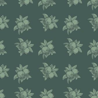リンゴのシームレスなパターン。ヴィンテージの植物の壁紙。ヴィンテージスタイルの彫刻。