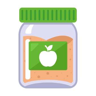 Applesauce in a glass jar for baby food. flat vector illustration.