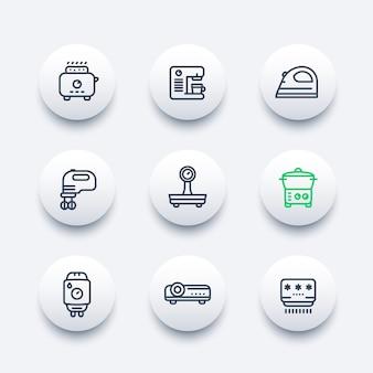 Appliances, consumer electronics line icons set