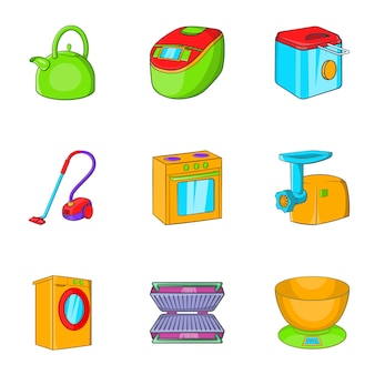 Appliances icons set, cartoon style