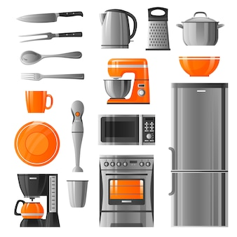 Appliances and kitchen utensil icons set