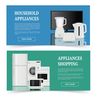 Магазины техники. рекламные баннеры бытовых электроприборов кухонные принадлежности реалистичные шаблон баннеров