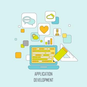 평평한 얇은 선 스타일의 응용 프로그램 개발 개념