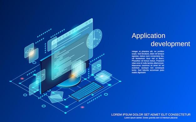 Разработка приложений плоская 3d изометрическая векторная иллюстрация концепции