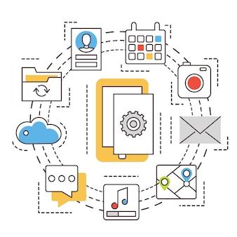 Разработка приложения. мобильные приложения. тонкая линия плоских иконок.