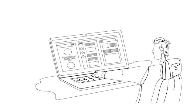 Программист разработки приложений работа черная линия карандашный рисунок вектор. молодой человек, работающий над разработкой портативных компьютеров и приложений, профессиональная деятельность. иллюстрация программирования программного обеспечения персонажа мальчика