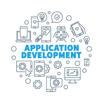 Application development vector round concept illustration