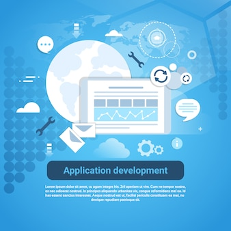 Application development web coding banner with copy space