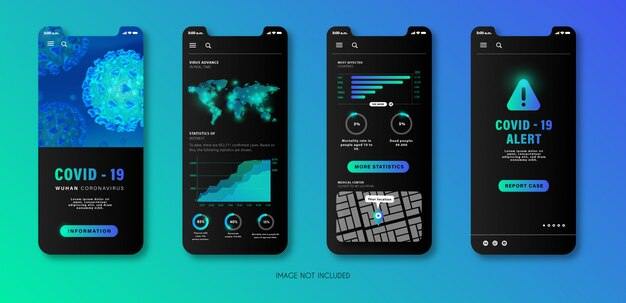 Приложение для мобильных телефонов об оповещении коронавируса в современном стиле.