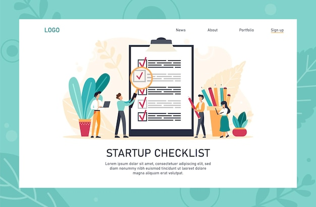 Application landing page template. people creating and checking plan on huge check list. man points in the direction marked by a checklist on whiteboard paper. flat vector illustration.