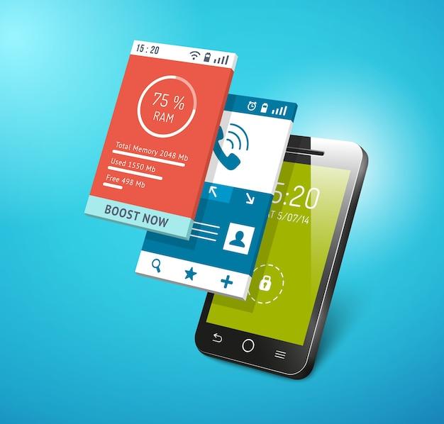 スマートフォン画面でのアプリケーション。ディスプレイベクトル上のさまざまなアプリのインターフェース