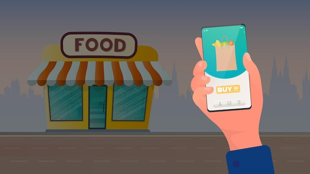Application for online shopping for fresh food. food store. online shopping concept. vector.