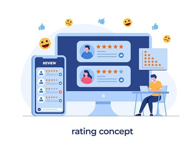 응용 프로그램 등급 개념, 기술, 고객 만족도, 리뷰, ui 및 ux, 소셜 미디어, 평면 그림 벡터