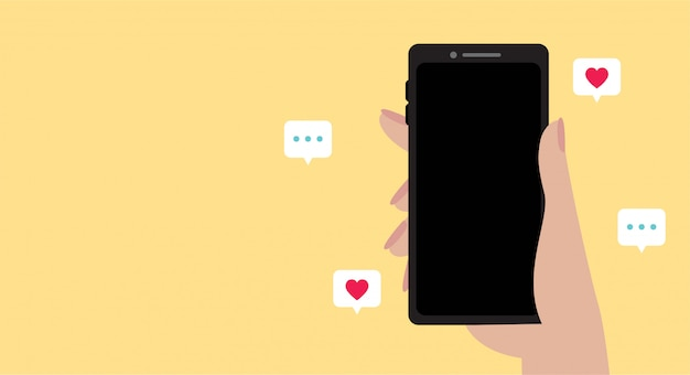 Application on smartphone, like and chat icon. popular video social network service. technology graphic illustration.