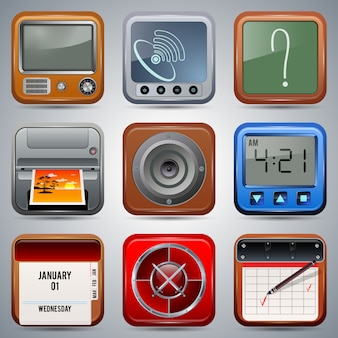 Application square realistic icons vector collection