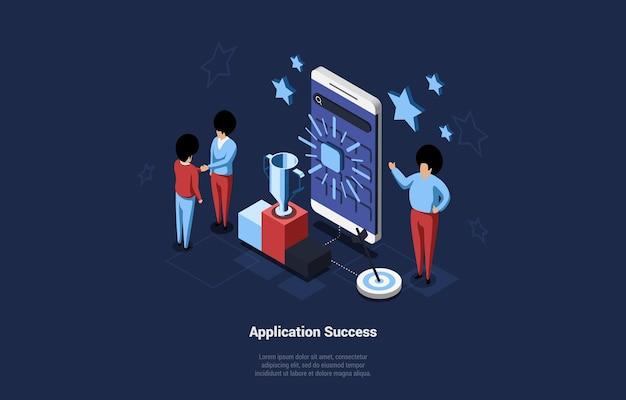 漫画の3dスタイルでのアプリケーションの成功の概念図。モバイルプロジェクトの勝利に満足している人々の等距変換群