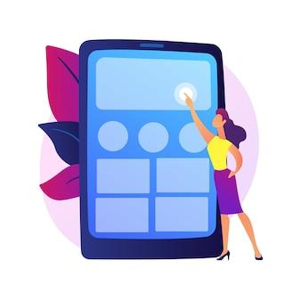 Test dell'applicazione. progettista ux, interfaccia smartphone, elettronica portatile. personaggio dei cartoni animati maschio che organizza app sullo schermo del telefono cellulare.