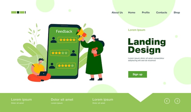 Application user giving positive feedback landing page in flat style