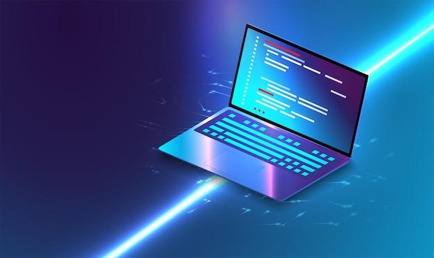 아이소메트릭에 비즈니스 그래프 및 분석 데이터가 있는 응용 프로그램입니다. 분석 동향 및 소프트웨어 개발 코딩 프로세스 개념. 프로그래밍, 크로스 플랫폼 코드 테스트