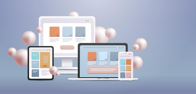 Applications on computer monitor apps for different devices cross platform concept horizontal