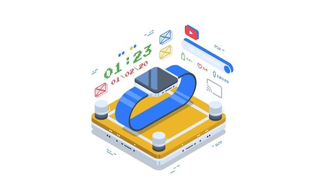スマートウォッチのアプリケーション。データ視覚化の概念。