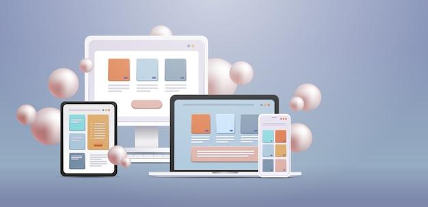 さまざまなデバイス用のコンピューターモニターアプリ上のアプリケーションクロスプラットフォームの概念水平