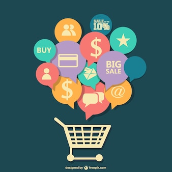 Applications speech bubbles in a shopping cart