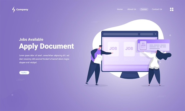 Apply document application to find a new job on landing page concept