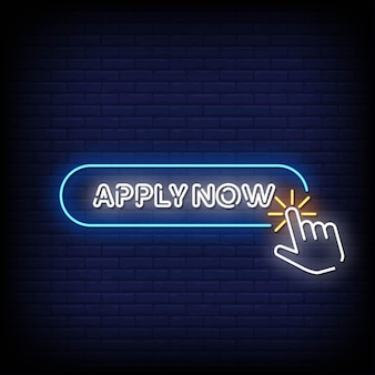 Apply now neon signboard on brick wall