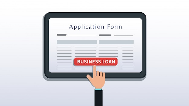 Apply for small business loan, application form on tablet or smartphone screen with hand click button isolated on white