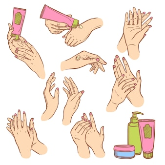 Applying cream hands flat icons composition
