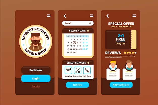 Appointment booking for barber shop app concept