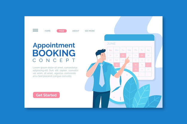 Appointment booking concept landing page