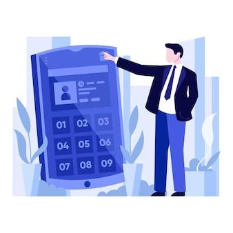 Концепция бронирования назначения с смартфона