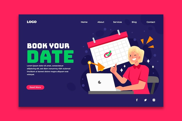 Appointment booking date landing page