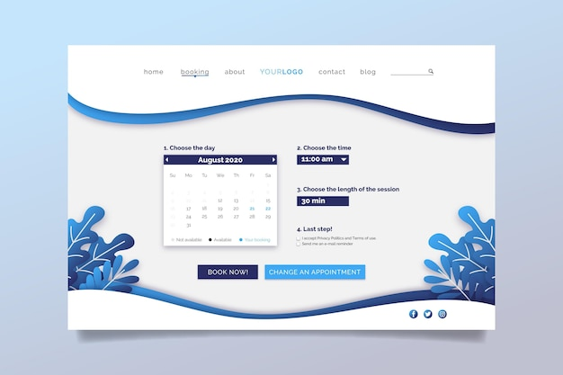 Appointment booking landing page choose date