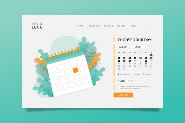 Appointment booking landing page choose day