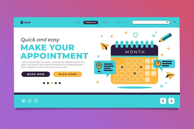 Appointment booking landing page concept